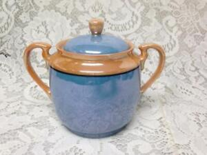 Vintage, 1930-40s Blue Lusterware Tea-Jar or Sugar Bowl 5in x 6in x 4in