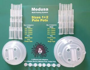 Medusa 1 & 2 Pole  / Cups Pellet Pots Size M & L  inc 8 Different Size Adaptors