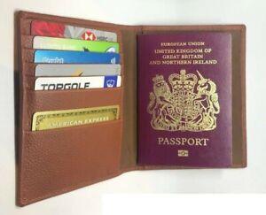 Real Leather Passport Holder Credit Card Wallet Designer Travel Document Cover