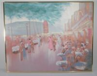 Large Cityscape Painting Vintage Lee Reynolds People Mingling Painting