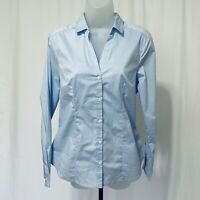 H&M Shirt Size 12 Button-up Blouse Long Sleeve Collared Work Casual Blue