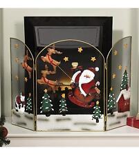 Santa & Sleigh Fire Guard Christmas Decoration