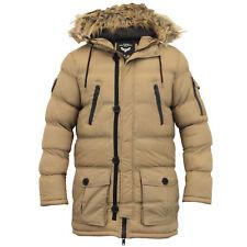 Mens Bubble Parka Jacket Brave Soul Coat Camo Military Hooded Fur Padded Winter Stone - Runcorn X Large