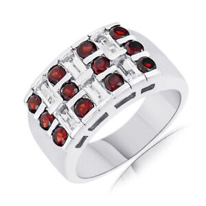 2.94 Ct Round Cut Red Garnet & White Topaz Sterling Silver Mens Band Ring