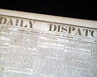 CONFEDERATE Jefferson Davis & Battle of Leesburg VA Civil War 1861 Old Newspaper
