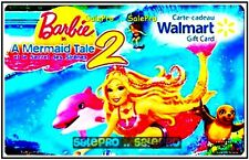 WALMART BARBIE IN A MERMAID TLE DISNEY ANIMATION #FD27751 COLECTIBLE GIFT CARD