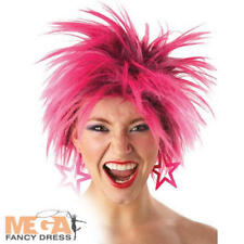 80s Pink Punk Wild Wig Ladies 1980s Fancy Dress Costume eighties Accessory Wig