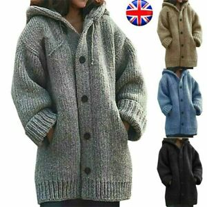 Womens Chunky Knitted Cardigan Ladies Warm Sweater Coat Jackets Jumper Winter UK