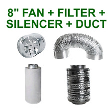 "8""/200MM COMBO - EXTRACTOR FAN + CARBON FILTER + SILENCER + ALUMINIUM DUCTING"