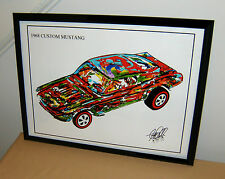 Hot Wheels 1968 Custom Mustang Redline Car Racing Poster Print Wall Art 18x24
