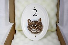 Ceramic Oval House Plaque (No 2) with Cat Design by Derick Bown