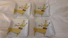 pottery barn reindeer Rudolph square appetizer plates (set of 4)