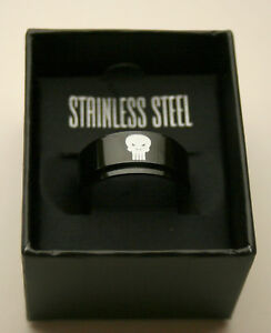 Marvel Comics Punisher Worry Rotating Stainless Steel Black Ring New NOS Box