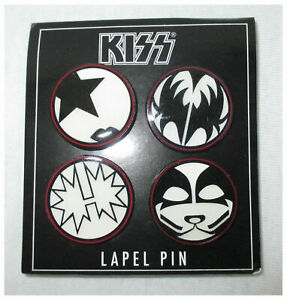 KISS Lapel Pins w/ Band Faces Set of Four NEW. OFFICIAL