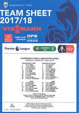 2017/18 Huddersfield Town v Manchester United Premier League Official Teamsheet