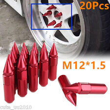 M12X1.5 Red Aluminum Mounted Spiked Lug Nuts Extended Tuner 60mm Wheels / Rims