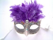 MASQUERADE BURLESQUE FANCY DRESS HEN PARTY PURPLE FEATHER SILVER JEWELLED MASK
