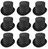10 x TALL LINCOLN BLACK TOP HAT RINGMASTER MAGICIAN FANCY DRESS H09 580