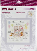 """RIOLIS Counted Cross Stitch Kit 7.75""""X7.75""""-Twin Birth Announcement (14 Count)"""