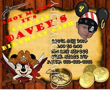 Pirate Mickey Mouse Birthday Invitations Photo Personalized 8 pk