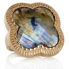 HSN CL by Design Labradorite Clover Bronze Iridescent blue-green color Ring Sz 9