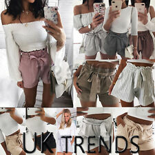 UK Womens High Waist Paper Bag Tie Belt Shorts Ladies Summer Pants Size 6-14