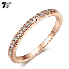 TT 9K Rose Gold GP RHODIUM 925 Sterling Silver Engagement Wedding Ring (RW45)