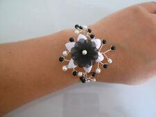 Bracelet Noir et Blanc p robe de Mariée/Mariage/Soirée, Fleur/Perles pas cher