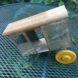 Rich Toys Wooden & Tin Litho Borden's Dairy Horse Drawn Cart, Milk, Farm 1930