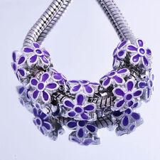 5X Silver Plated Purple Enamel Flower Charm Beads LOT Fit European  Bracelet