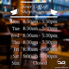 Coffee Shop Cafe Personalised Opening Hours Window Sign Vinyl Decal Sticker