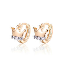 2a7bb2610 Luxury 18 k Gold Plated Jewellery Small Baby Girls Hoops Crown Designer  Earrings
