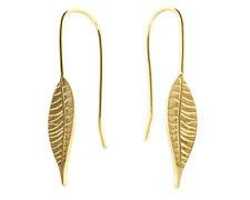 Ladies Gold Plated Thin Leaf Design Hook-in Drop Earrings
