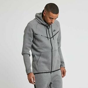 Nike Men's Sportswear Tech Fleece Full Zip Hoodie 805144-091 Gray-Size M