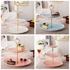 3 Tier Hardware Crown Cake Plate Stand Handle Fitting Wedding Party Gold OW