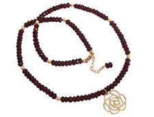 Damen Halskette Granat echt 585 / 14k Gold Vermeil Blume Artdeco rot Shapes