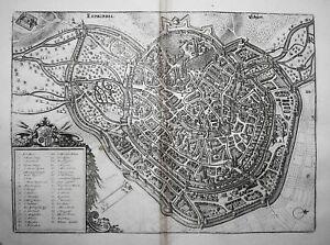 Erfurt Stadtplan Ansicht Thüringen Merian engraving Kupferstich 1650