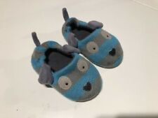 Toddler boy blue/grey knitted dog like home slippers Size 7 (13-14 cm)