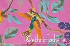 5 Yard Cotton Pink Bird Hand Block Sanganeri Print Sewing Material Craft
