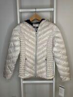 Women's S Preston & York Puffer Jacket Metallic Zip Lightweight Hooded Packable