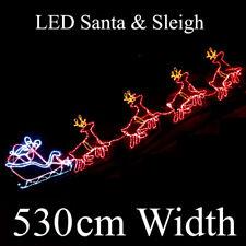 36V 530cm LED Santa Riding 4 Reindeer Deer Sleigh Christmas Rope Motif Lights