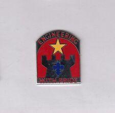 US Army 308th Engineer Battalion Airborne DUI crest c/b clutchback badge G-23