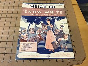vintage Original sheet music: WALT DISNEY'S SNOW WHITE & SEVEN DWARFS heigh-ho