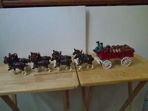 Cast Iron Budweiser Clydesdale Horse Drawn Wagon with Barrels