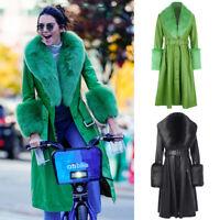 Kendall Jenner Foxy Coat Faux Fur Lapel Cuff Leather Belt Long Trench Celebrity