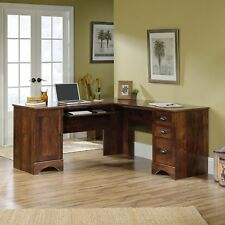 Sauder Harbor View Corner Computer Desk Hutch, Curado Wood With Cherry Finish