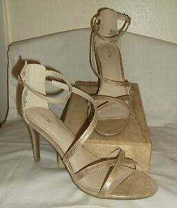 *NWOB*  APT 9 ~ CHAMPAGNE STRAPPY SPARKLE OATMEAL HIGH HEEL SANDALS~ 9-1/2 M