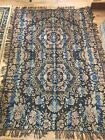 Antique 1920s Italian Damask Reversible Piano Throw Table Cover Fringed Vintage