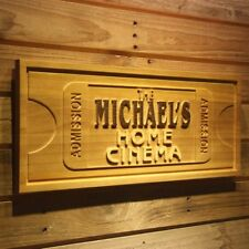 wpa0167 Name Personalized HOME CINEMA Ticket Decoration Wooden Sign