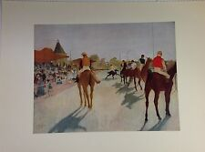 "1952 Vintage Full Color Art Plate ""AT THE RACE COURSE"" DEGAS Horses Lithograph"